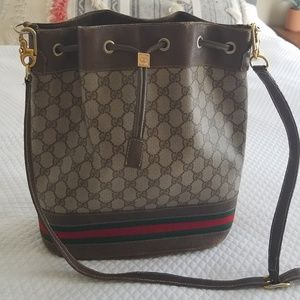 VINTAGE GUCCI OPHIDIA BROWN LEATHER BUCKET BAG